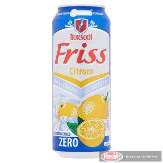 Borsodi Friss Zero Citrom alkoholmentes dobozos sör 0,5l
