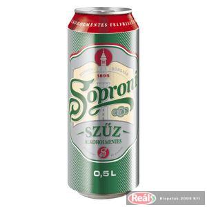 Soproni szűz alkoholmentes dobozos sör 0,5l