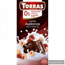 Torras diabetikus gluténmentes mogyorós tejcsokoládé 75g