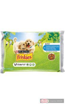 Friskies kutyaeledel tasakos 4*100g junior szószos válogatás