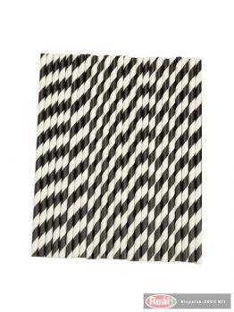 Papír szívószál 150db fekete csíkos 250*6mm